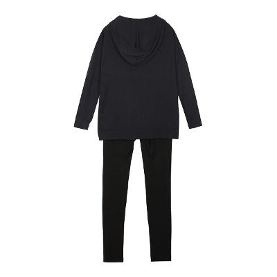 chain eyelet hoodie knit & color block leggings pants